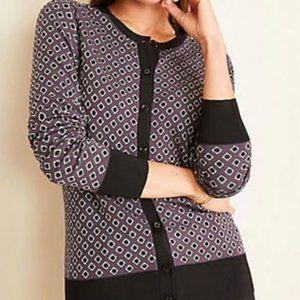New Ann Taylor Diamond Jacquard Cardigan S Phantom